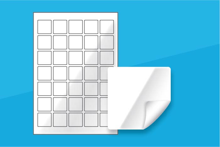 White Gloss Square Labels 35 x 35mm