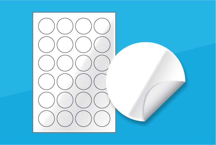 White Gloss Round Labels 40mm