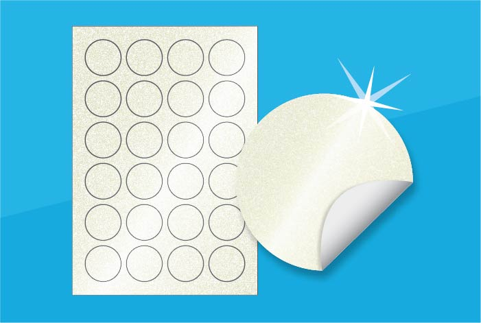 Pearlised Round Labels 40mm