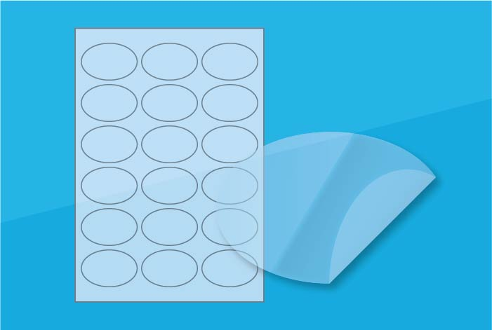 Clear Oval Labels 62 x 41mm