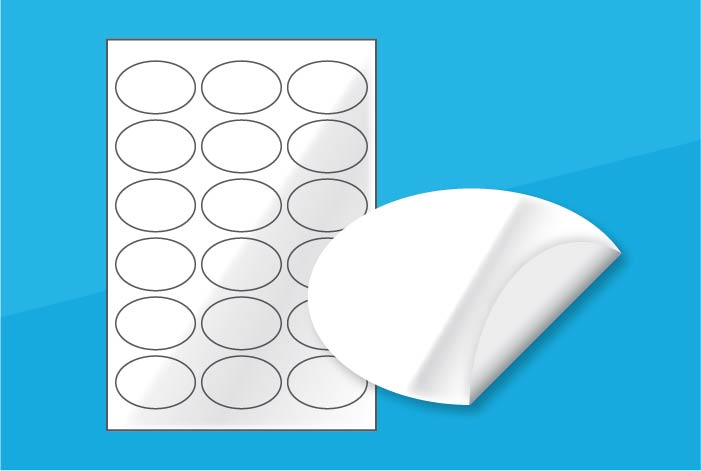 White Gloss Oval Labels 62 x 41mm