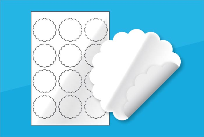 White Gloss Scallop Labels 63mm