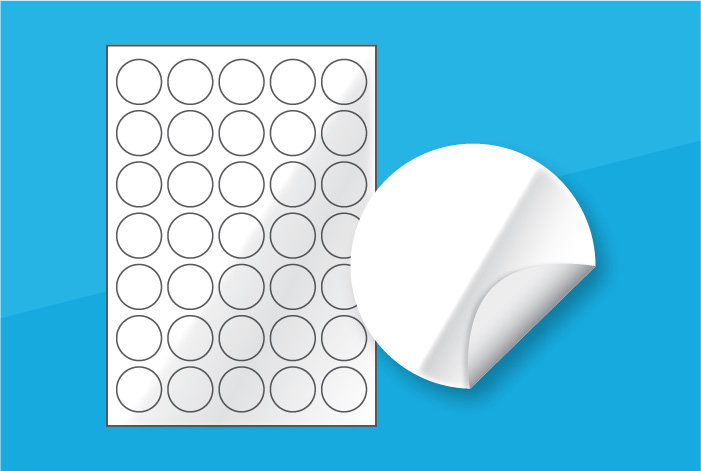 White Gloss Round Labels 35mm